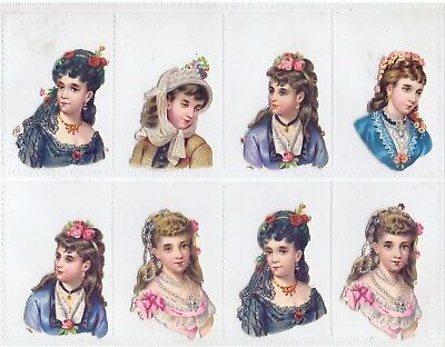 8 60 x 45 mm Original Victorian Die Cut Scraps Young Women H & Shoulders  (RS1)