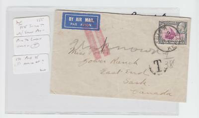"""KUT (THIKA) TO CANADA 1935 COVER, SHORT PAID """"T""""MARK, 50c RATE (SEE BELOW)"""