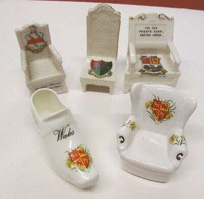 Vintage Arcadian H Mackie Eyrie Various China Heraldic Figurines Chair Lot Crest