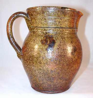 Antique Manganese Glazed Redware Pitcher Applied Handle & Spout Southeastern PA