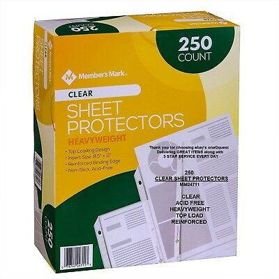 250 CLEAR SHEET PROTECTORS Acid Free Document Heavy Weight top load Member Mark