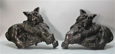 Antique 70 lb. AMERICAN BRONZE ARCHITECTUAL CAT/LION Sculpture Elements  c. 1900