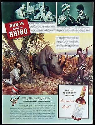 Vintage 1941 Canadian Club Blended Whiskey Magazine Ad Run-In With a Rhino