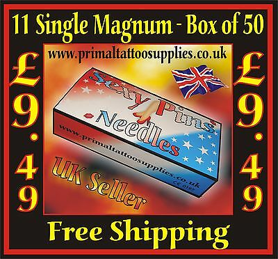 Tattoo Needles 11 Magnum1 box 50    -   (Tattoo Supplies - NO Disposable Tips)