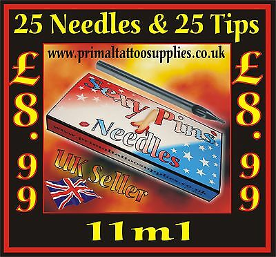 25 Tattoo Needles 11 M1 + 25 Disposable Long Tips 11F - (Tattoo Supplies - Inks)