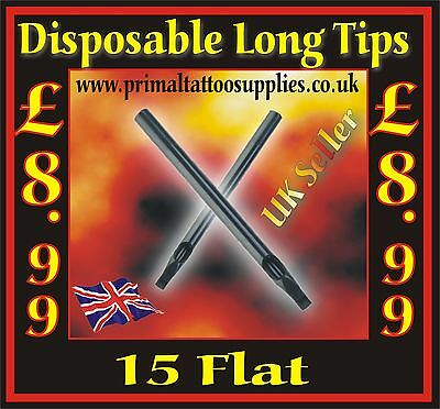 50 disposable tips 15 Flat -(Tattoo Supplies - Grips - Inks - Tattoo Needles)
