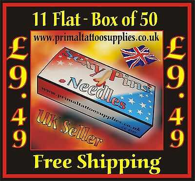 Tattoo Needles 11 Flat box 50  - (Tattoo Supplies - NO Disposable Tips Included)