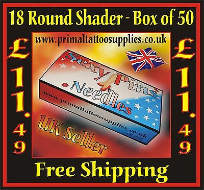Tattoo Needles 18 Round Shader box 50 -  (Tattoo Supplies - NO Disposable Tips)