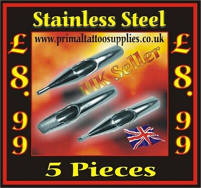 Tattoo Tips Stainless Steel - 5 PIECES (Tattoo Supplies - Inks -Tattoo Needles)