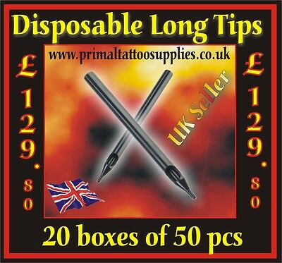 20 Boxes of Disposable Long Tips (1000 Tips in total) - (Tattoo Supplies Needles