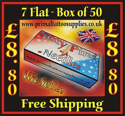 Tattoo Needles 7 Flat -  box 50  -  (Tattoo Supplies - NO Disposable Tips)
