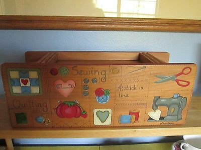 Wooden sewing box with hand painted top drawer pull