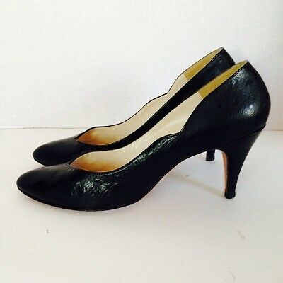 Vtg 1950s Ostrich Skin Embossed Black Leather Heels Pumps Pinup Rockabilly 7N 7