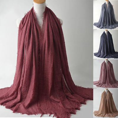 Ramadan Plain Cotton Hijab Scarf Large Maxi Headscarf Women Shawl Wrap Headwear