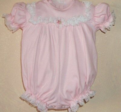 Vintage Frilly Lace Trimmed Pink Baby Bubble Romper Size 6/9 mo