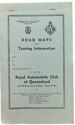 """1957 Superb / Great Condition """"racq Road Maps & Touring Information"""""""