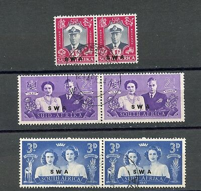 British Colonies, South Africa With Swa Overprint, 1947 Royal Visit Used Pairs
