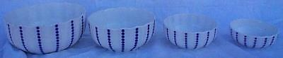 Vintage Set of Four Blue and White German Pottery Nesting Mixing Bowls