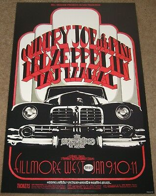 Led Zeppelin / Country Joe 1969 Poster Fillmore West SF Bill Graham 2nd Printing
