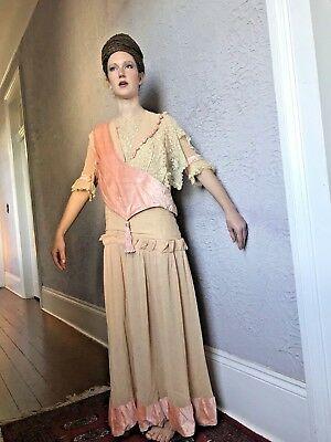 Edwardian Vintage Antique Lace & Pink Velvet Dress