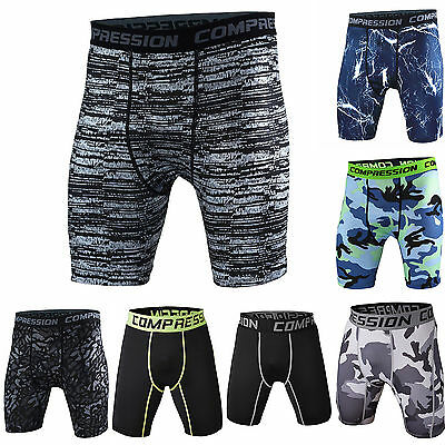 Mens Sports Gym Compression Wear Under Base Layer Shorts Pant Tights Trousers A