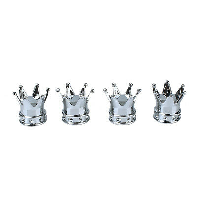 4pcs Car Bicycle Motorcycle Chrome Crown Tyre Tire Wheel Stem Air Valve Cap
