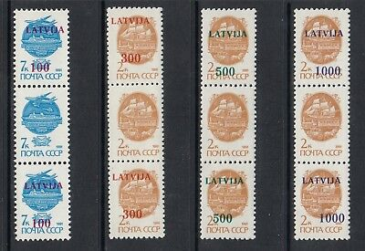 LATVIA 1991 SURCHARGES, Strips of 3 with central stamp without surcharge, MNH