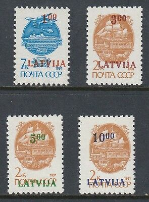 LATVIA 1992 SURCHARGES 4 values with surcharge figures at the top, MNH