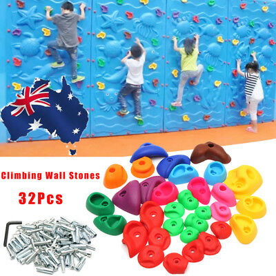 AU 32Pc Children Kids Climbing Wall Stones Hold Hand Feet Starter Rock Holder