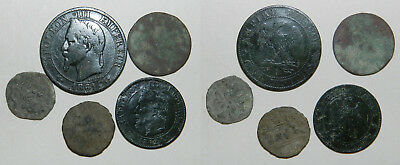 FRANCE :  GROUP OF 5 OLD COINS - FEUDAL to NAPOLEON III