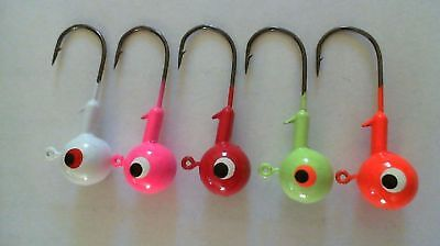 50 - 3/8 oz. ROUND HEAD BARB COLLAR - JIG HEADS *Assorted Colors*