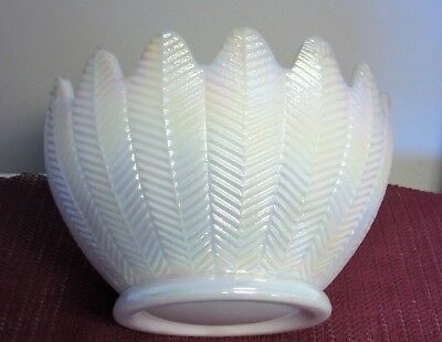 Vintage Iridescent Glass Bowl Large Feather White L E Smith Carnival Pearlized