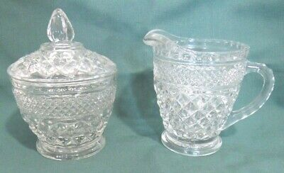 Anchor Hocking Wexford Pressed Glass Creamer & Covered Sugar Bowl, Vintage 1960s