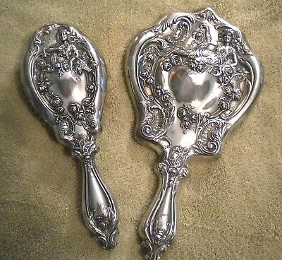 Antique Repousse High Relief Silver Plate Hand Mirror + Brush Lady Flowers Baske