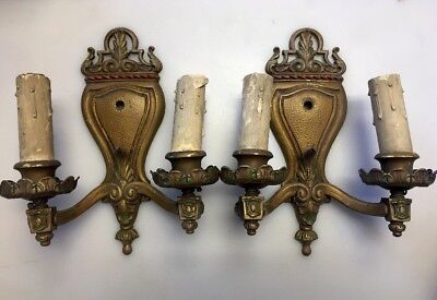 Pair Of Antique Vintage Brass Candle  Electric Wall Sconces Radiant Light