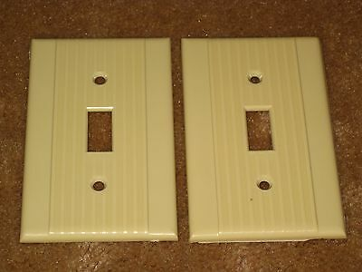 2 Vintage Mid Century Uniline Ribbed Light Switch Plate Covers