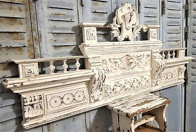 Huge Shabby Hand Carved Wood Pediment Antique French Architectural Crown Salvage