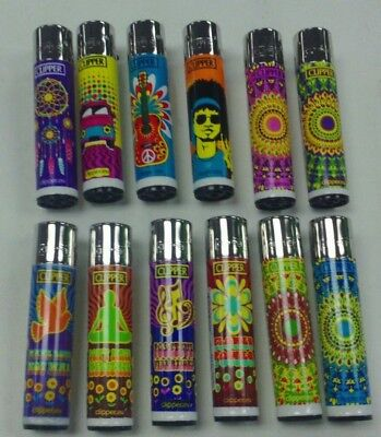 12 Pack Of Clipper Lighter Refillable 60's Style Flower Power Colorful Designs
