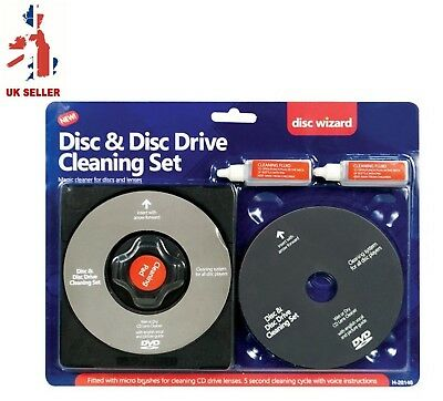 CD DVD Disc Drive Cleaner Cleaning Set Fluid Laser Lens Laptop Computer Wii Xbox