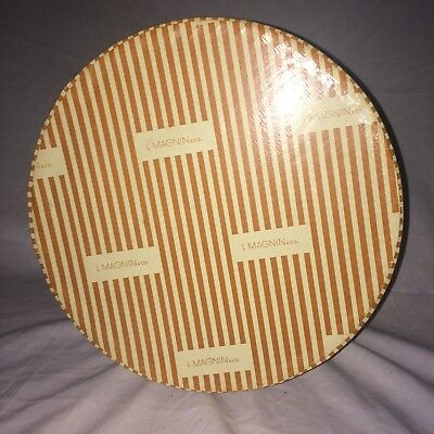 "vintage I. Magnin Round Striped Roped thick strong cardboard Hat Box-10.5""-Exc"