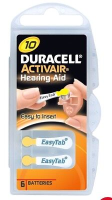 Duracell Activair Hearing Aid 6 Batteries Size 10