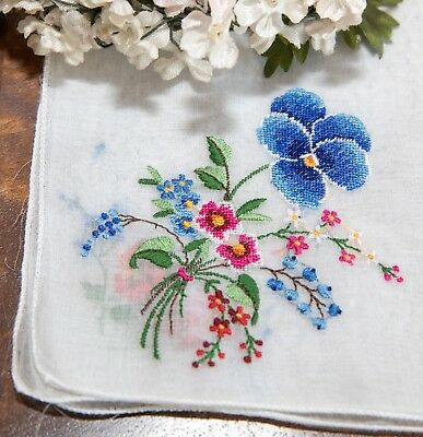Vintage Petit Point Embroidered Swiss Hanky with Pansies Bouquet