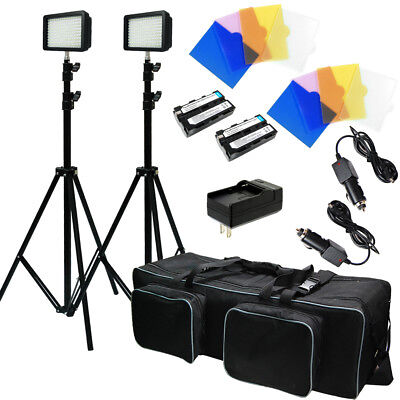 Studio 216 LED Panel Continuous Lighting Kit Dimmable w/ Charger & Filters
