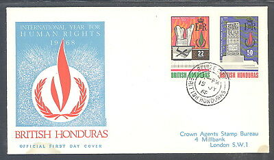 British Honduras FDC Human Rights Inauguration Year 1968