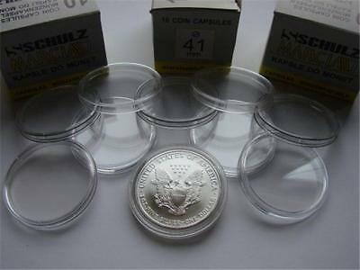 10x Clear Plastic Coin Display Cases Capsules Holder Storage Box 41mm Schulz