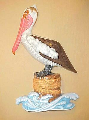 "4"" PELICAN Wall Hanging Decor Tropical Beach Bath Nautical Aquatic Ocean Birds"