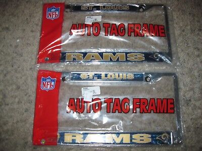 NWT 2-Lot of St. Louis Rams NFL Football License Plate Auto Tag Frames Team @
