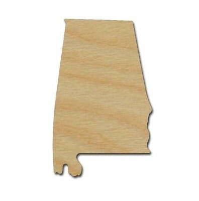 Alabama State Unfinished Wood Cutout Variety Of Sizes Made in USA