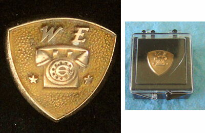 Vint WESTERN ELECTRIC Employee Service Pin Badge: 10K GOLD; TELEPHONE IMAGE