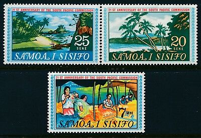 1968 SAMOA SOUTH PACIFIC COMMISSION 21st ANNIVERSARY SET OF 3 FINE MINT MNH